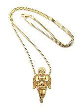 "New PRAYING ANGEL Micro Pendant &2mm/30"" Box Chain Small Hip Hop Necklace MMP3B"