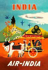 Vintage 1950's Air India voyage en Inde A3 ART PRINT Poster