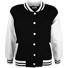 Kids Boys Baseball Black Jacket Varsity Style Plain School Jacket Top 5-13 Years