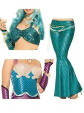 Mermaid Ladies Costume Adult Sea Siren Flared Trousers Fancy Dress Woman Outfit