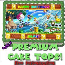 Wii U Super Mario Bros Birthday Cake 2 topper Edible picture decoration transfer
