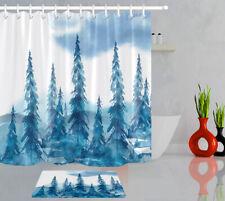Watercolor Forest Pine Trees Landscape Shower Curtain Liner Xmas Bathroom Decor