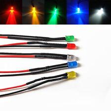 3mm Pre-Wired Ultra Bright LEDs Bulb 2V 3V 12V~ 220V White/Red/Green/Blue/Yellow