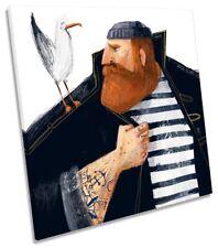 Sailor Seagull Tattoo Picture CANVAS WALL ART Print Square Multi-Coloured