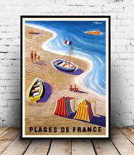 Plages de France ,  Vintage  travel poster reproduction