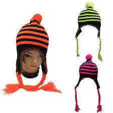 New Ladies Winter Hat Neon Pink Yellow Green Orange Stripes Trapper Ear Lap Hats