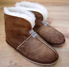 Ladies/Womens REAL SHEEPSKIN Slipper Boot Roll up / Down Cuff Real Walnut