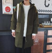 Korea Style Men's Hooded Wool Overcoat Students Casual Loose Coat Warm Outwear
