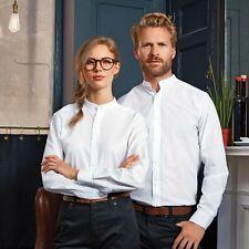 Oxford Grandad Mandarin Collar Shirt Top Chinese Oriental Work Smart Banded