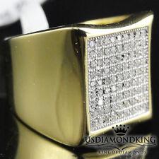 aeb67feebf76 Hombres Plata de Ley 925 Nuevas 10 Quilates Acabado de Oro Amarillo  Diseñador