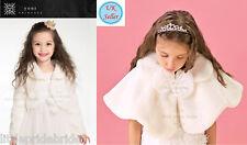 Children Ivory Faux Fur Shrug Bolero Jacket Coat  S M L