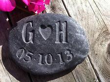 Personalised Handmade Gift carved stone, Anniversary, Wedding Beach, Cornwall