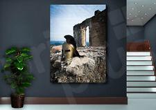 Spartan Helmet on Castle Ruins Canvas Art Poster Print Home Wall Decor