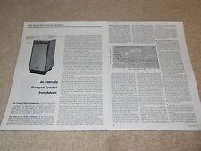 Advent Powered Speaker Review, 1978, 2 pg, Specs, Info, Full Test