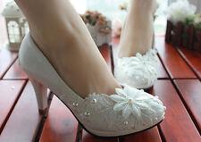 Escarpin éscarpins chaussures pour femmes blanc dentelle jeune mariée 8.5 cm