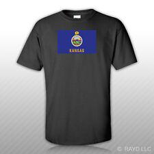 Kansas Flag T-Shirt Tee Shirt Free Sticker state the sunflower wheat
