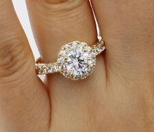 2.25Ct 14K Yellow Gold Round Halo Engagement Wedding Bridal Propose Promise Ring