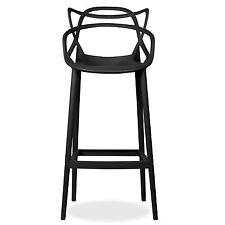 MASTERS MODERN DESIGNER PLASTIC BAR STOOL CHAIR 75CM & 65CM  GREY BLACK WHITE