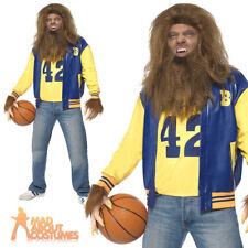 Mens Teen Wolf Costume 80s Halloween Adult Werewolf Fancy Dress Outfit  + Wig