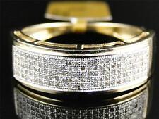 Yellow Gold Finish Mens Ladies White Diamond 7.5 mm Wedding band Ring 1/2 Ct