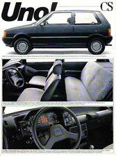 Fiat Uno CS 1300 Petrol Alcohol Late1980s Brazilian Market single sheet Brochure