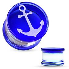Plug Glas Borosilikatglas Anker Anchor Marine blau Flesh Tunnel Piercing Ohr
