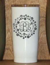 Personalized Powder Coated Tumbler with Laser Engraved Dot Circle Vine Monogram