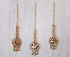 Tikka Head Piece Jhumar Matha Patti Diamand Indian Pearl Costume Jewellery Bindi