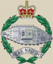 "Royal Tank Regiment Army Badge Cross Stitch Design (7x8"",18x20cm,kit or chart)"