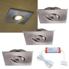 3er Set LED Einbaustrahler schwenkbar EEK: A  375lm 230V 9W Möbel-Einbauleuchte