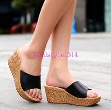 Plus Size Womens Open Toe Wedge Heel Platform Leather Sandal Slipper Shoes Sz