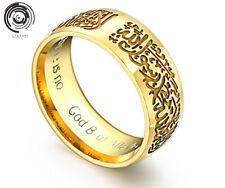 Band Allah Arabic Aqeeq Titanium steel Islamic Ring Shahada Arabic God Messager