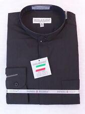 Men's Mandarin / Banded Collar Long Sleeve Dress Shirt Black Convertible Cuffs