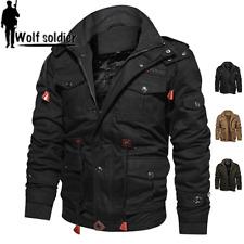 Mens Winter Bomber Jackets Fleece Warm Multi Pockets Air Force Zip Coat Hooded
