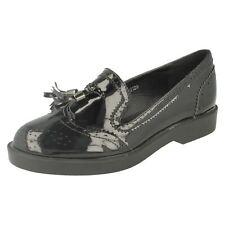 ladies f80120 black patent slip on brogue/tassel shoes by spot on £9.99