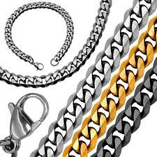 1 Collar cadena + 1 Pulsera de acero inoxidable sólido en negro plata y oro