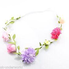 Ladies Floral Flower Hair Garland Boho Hippie Festival Wedding Forehead Headband