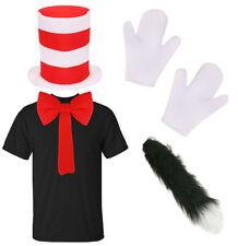 Adulti Rosso E Bianco a Strisce Unisex Gatto Cappello Personaggio Film Costume Cappello