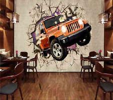 Break Wall Jeep 3D Full Wall Mural Photo Wallpaper Printing Home Kids Decoration