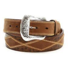Nocona Western Mens Belt Leather Ostrich Diamond Patchwork Brown N2410944