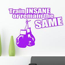 Train Insane O Remain EL MISMO adhesivo pared Boxeo frase de Gimnasio W140