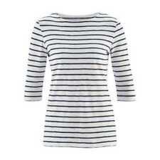 LIVING CRAFTS Shirt 3/4-Ärmel Streifen Weiß Blau Bio Baumwolle GOTS Fair Vegan