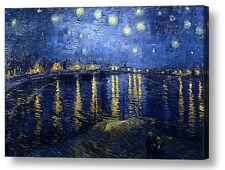 VINCENT VAN GOGH STARRY NIGHT OVER RHONE REPRO CANVAS BOX PRINT A4, A3, A2, A1