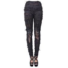 New Fashion Steampunk Women Black Rock Ragged Leggings Gothic Punk Casual Pants