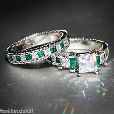 Handmade Green Emerald 925 Silver Filled Birthstone Engagement Wedding Ring Set