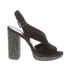 MICHAEL KORS women shoes Becky Platform black suede sandal glitter heel 11 cm