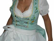 Mini-Dirndl inkl. Bluse Schürze TÜRKIS mit schöner Stickerei Trachtenkleid neu