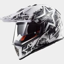 LS2 Pioneer MX Enduro Motocross Motorbike Helmet Full Face White/Black Duo Visor
