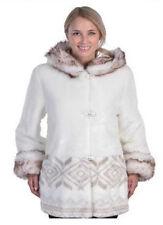 Womens Faux Fur Hooded Washable Coat Satin Linin Fleece Jacket