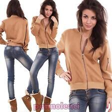 chaqueta de mujer cremallera chaqueta bolsillos ante sintético nueva C25921B